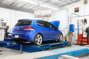 Blue VW GTi on Mustang AWD 4WD Dyno Dynamometer