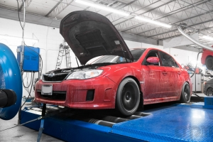 RED STi on Mustang AWD 4WD Dyno Dynamometer