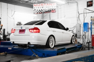 white 335d on Mustang AWD 4WD Dyno Dynamometer