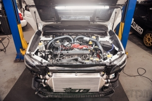 Subaru STI Front Engine Bay Shot on lift