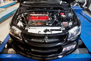 DR EVO 9 Front shot of engine bay on Mustang AWD 4WD Dyno Dynamometer