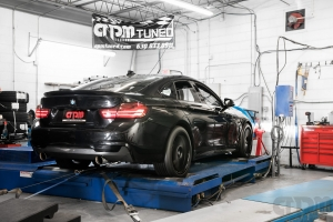 Rear shot of BMW on Mustang AWD 4WD Dyno Dynamometer