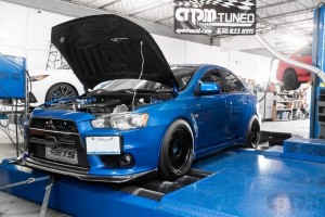 Front shot of EVO X on Mustang AWD 4WD Dyno Dynamometer