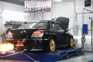 APM Shop Car shooting Flames on mustang AWD 4WD Dyno Dynamometer